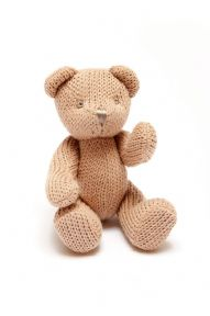 Hand knitted brown bear